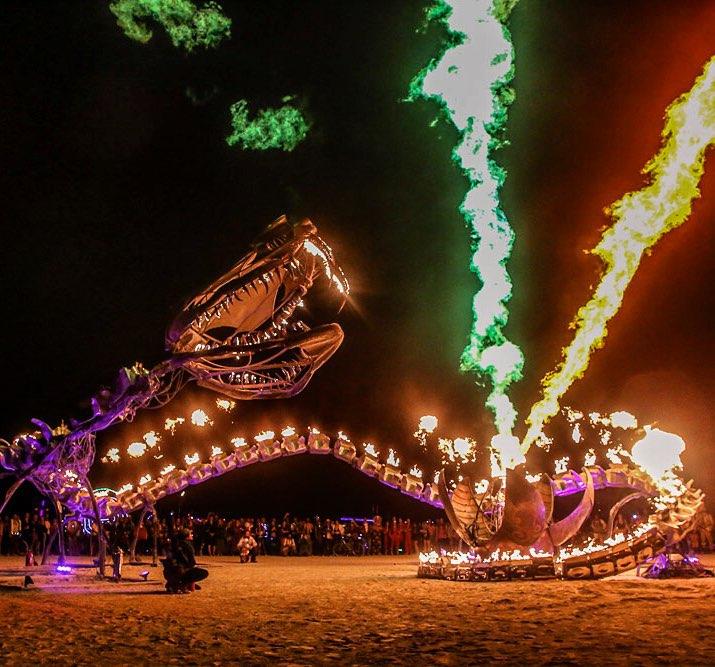 Serpent Mother by Flaming Lotus Girls at Burning Man 2014